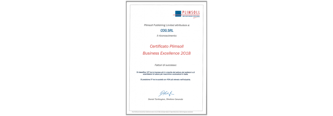 BUSINESS EXCELLENCE 2018 Certificate